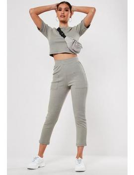 Khaki Co Ord Ribbed Pocket Detail Leggings by Missguided