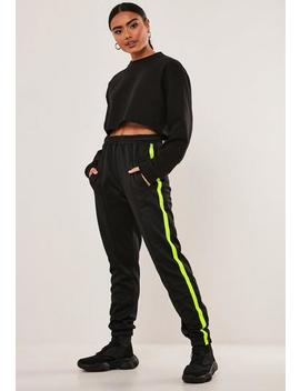 Black Seam Detail Joggers by Missguided