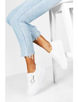 Snake Zip Side Chunky Platform Trainers by Boohoo