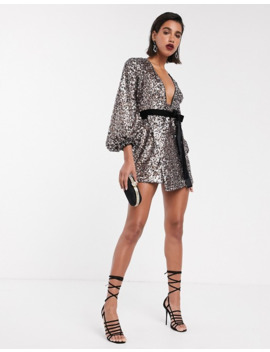 Asos Design Mini Dress With Blouson Sleeve And Tie Waist In Multi Colour Sequin by Asos Design
