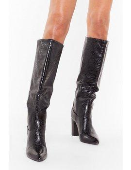Block Heel Faux Croc Knee Boots by Nasty Gal