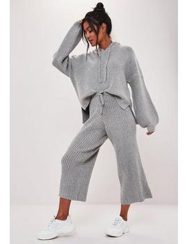Petite Premium Grey Co Ord Ribbed Culottes by Missguided