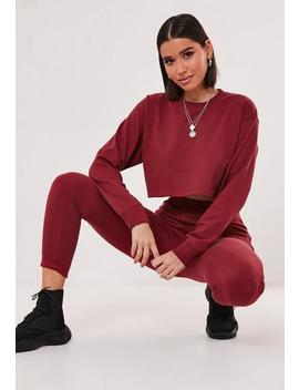 Red Co Ord Crop Sweat And Jogger Set by Missguided