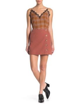 Button Detail Mini Skirt by Blu Pepper