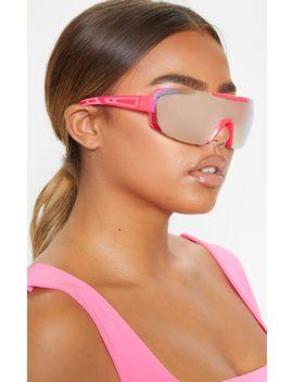 Neon Pink Revo Sports Visor Sunglasses   by Prettylittlething