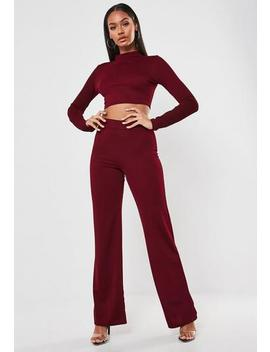 Burgundy High Neck Crop Top And Trousers Co Ord Set by Missguided
