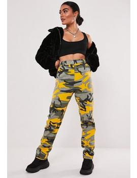 Yellow Cargo Camo Trousers by Missguided