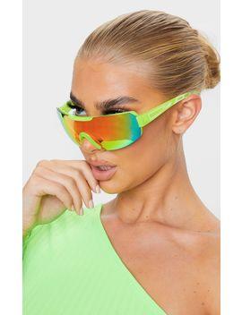 Neon Yellow Revo Sports Visor Sunglasses   by Prettylittlething