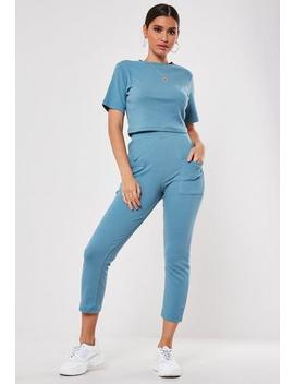 Blue Co Ord Rib Pocket Detail Leggings by Missguided