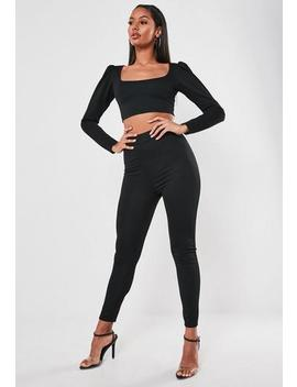 Black Puff Sleeve Top And Skinny Trouser Co Ord Set by Missguided
