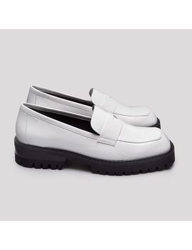 Elsie White Patent Leather Loafers by Miista