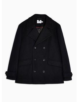 Navy Faux Fur Pea Coat by Topman