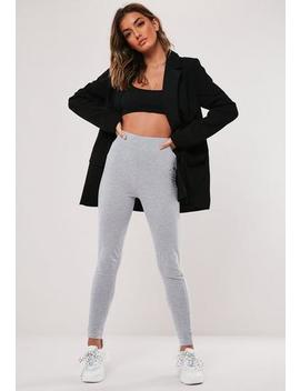 Grey Cotton Deep Waistband Leggings by Missguided