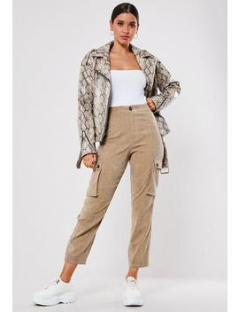 Tan Cord Straight Leg Cargo Trousers by Missguided