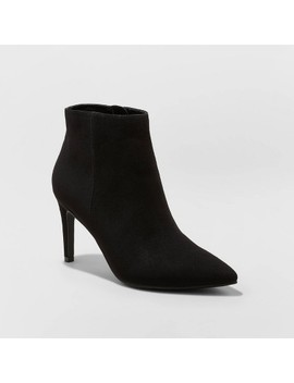 Women's Norelle Microsuede Stilletto Pointed Bootie   A New Day™ Black by A New Day