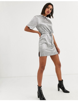 Bershka Tshirt Dress With Tie In Silver by Bershka