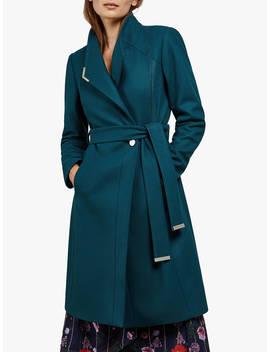 Ted Baker Ellgenc Belted Wool Blend Coat, Teal by Ted Baker