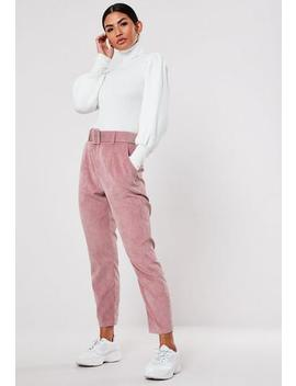Pink Cord Belted Cigarette Trousers by Missguided