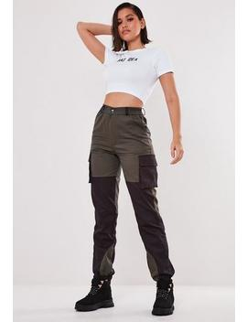 Grey Cargo Twill Colour Block Knee Trousers by Missguided