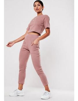 Rose Co Ord Rib Pocket Detail Leggings by Missguided