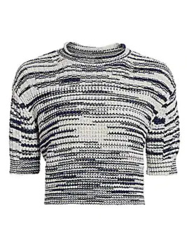 Space Dye Crop Knit Wool Blend Sweater by See By Chloé