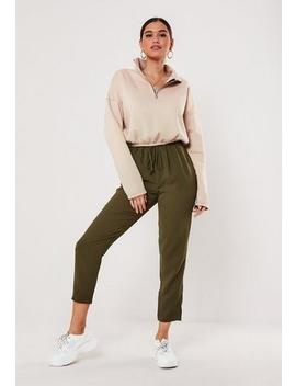 Khaki Tie Waist Slim Leg Trousers by Missguided