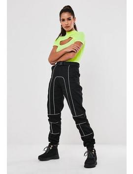 Black Seatbelt Contrast Piping Cargo Trousers by Missguided