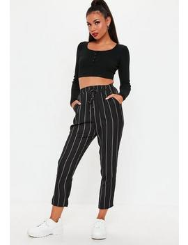 Petite Black Stripe Elasticated Slim Leg Trousers by Missguided