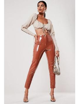 Mocha Vinyl Cigarette Trousers by Missguided
