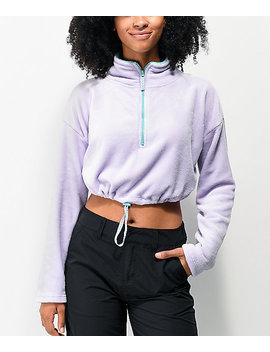 Empyre Sequoia Purple Crop Half Zip Fleece Sweatshirt by Empyre