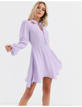 Glamorous Button Front Mini Dress With Tie Neck Detail by Glamorous