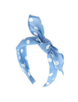 Polka Dot Knotted Bow Headband   Baby Blue by Claire's