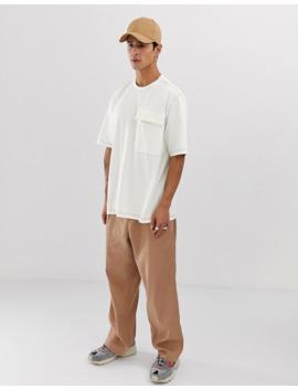 Asos White   T Shirt Ampia Bianco Sporco Con Cuciture A Contrasto by Asos White