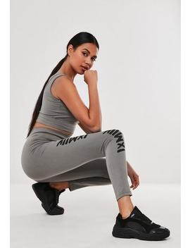 Grey Graphic High Waisted Leggings by Missguided