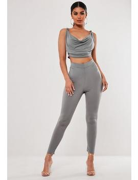 Grey Co Ord Ruched Bum Leggings by Missguided