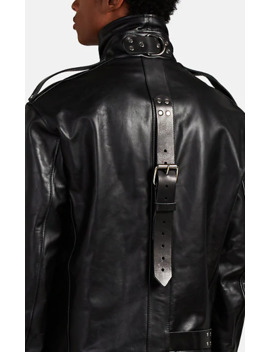 Oversized Buckle Detailed Leather Moto Jacket by Vetements