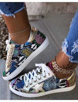 Snakeskin Star Design Lace Up Sneakers by Chic Me