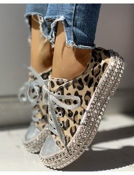 Leopard Rivet Embellished Lace Up Sneakers by Chic Me