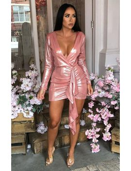 Pink Metallic Bodycon Side Detail Dress   Meela by Femme Luxe