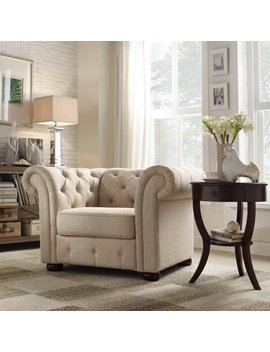 Chelsea Lane Glamorous Tufted Chair, Beige Linen by Weston Home