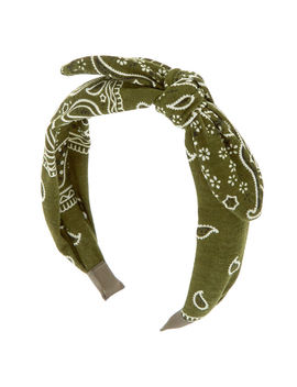 Bandana Knotted Bow Headband   Olive Green by Claire's