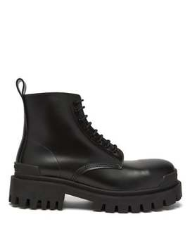 Tread Sole Leather Boots by Balenciaga