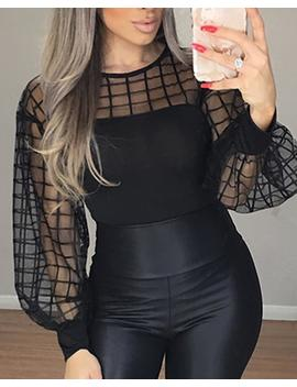 Sheer Grid Mesh Casual Blouse by Chic Me