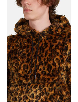 Leopard Faux Fur Hoodie by R13