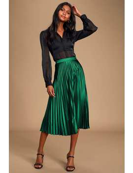 Fashionable Babe Emerald Green Satin Pleated Midi Skirt by Lulus
