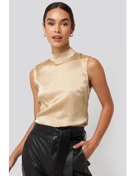 High Neck Structured Satin Top Beige by Na Kd Trend