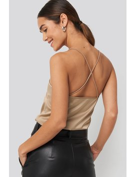 Crossed Back Satin Singlet Beige by Na Kd Trend