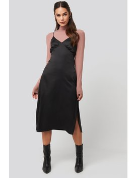 Slip Satin Slit Dress Black by Na Kd Trend
