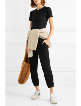 Pointelle Knit Cotton Top And Cropped Pants Set by Leset