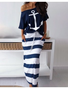Boat Anchor Print T Shirt & Striped Skirt Sets by Chic Me
